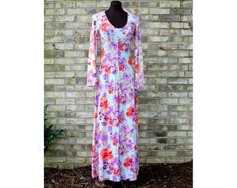 1970s maxi dress, flowered maxi dress, boho dress, Size S/M