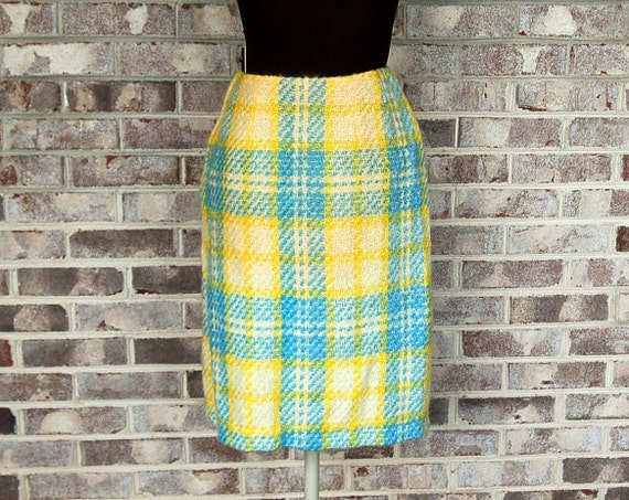 1960s tweed skirt, mohair tweed, yellow blue, plaid skirt, Size M