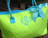 CLEARANCE - 40% OFF: Monogrammed Tote Bag -  Large Quilted Tote Bag - Lime Green with Turquoise Trim