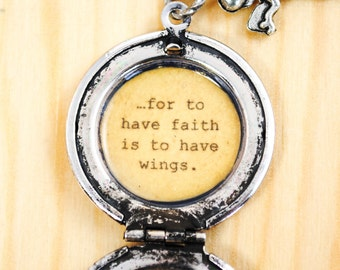J.M. Barrie's Quote Locket - ...for to have faith is to have wings - Tinker Bell, Peter Pan Necklace