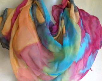 Silk chiffon scarf hand painted original in apricot, cherry, and  turquoise