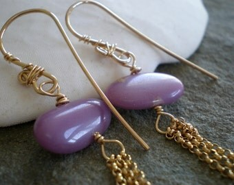 Beautiful Purple Phosphosiderite Nugget Tassel Earrings in Goldfill