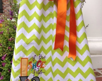 Halloween Peasant Dress-lime Chevron-made to Order