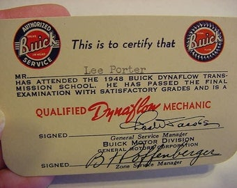 1948 Buick Qualified Dynaflow Mechanic GMC Passed Transmission School Card Badge Lee Porter Vintage