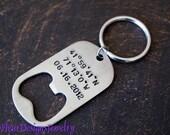 Longitude and Latitude Custom Bottle Opener Key Chain for Men, Personalized Bottle Opener Key Chain for Men