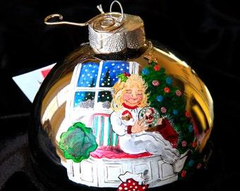 Hand Painted Ornament-Littler Girl W/Christmas Gloce-Item 611