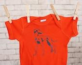 Italian Greyhound Baby One piece, Dog cotton baby bodysuit,  infant creeper Orange onepiece screen-print shirt short sleeved Unisex clothing