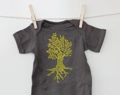 Tree Infant Creeper, Cotton Baby Bodysuit, Snapsuit, One Piece, Baby Shower Gift, grey, yellow, nature, Short Sleeved, Unisex Baby Clothing