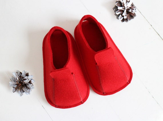 Eco-friendly Industrial Wool Felt Toddler / Kids Slippers / Suede Soles / Size US 5 - 9
