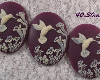40x30mm Cameo - Ivory/Purple - Hummingbird - 3 pc : sku 05.04.13.3 - V2