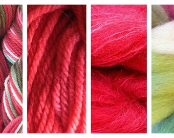 Hand Dyed Samples of Merino Wool DK Sport Weight Yarn in Strawberry Fields
