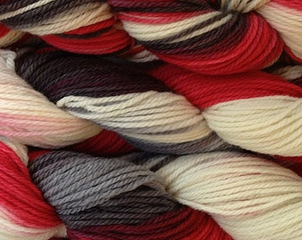 Hand Painted Merino Wool Worsted Weight Yarn in Lucky Draw Hand Dyed Red White Gray