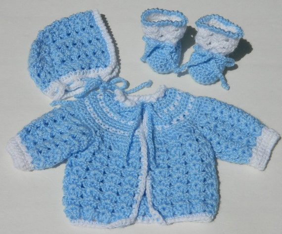 Free Crochet Patterns For Easy Baby Sweaters : Crochet Baby Sweater Bonnet & Booties PDF Pattern 714