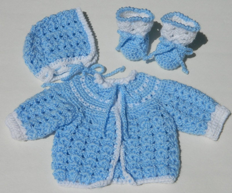 Crochet Baby Sweater Bonnet & Booties PDF Pattern 714