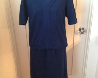 Vintage 1950s Navy Jackie O Two-piece Saks Fifth Ave Couture Suit Dress