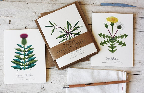 Weeds Botanical Greeting Card Set of 6 with Matching Kraft Envelopes