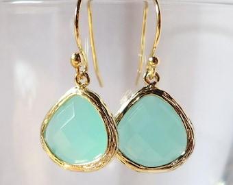 Mint Opal Earrings gold, Light green drop Earrings, Mint Julep Earrings, Bridal Earrings, Feminine Delicate Mint Drop bezel set earrings,