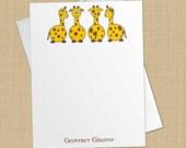Geoffrey Giraffe - Set of 8 CUSTOM Personalized Flat Note Cards/ Stationery