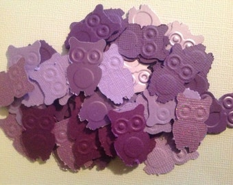 50 pc Purples Paper Owls   Confetti for a Birthday   Baby Shower