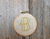 "3"" Letter B Embroidered Hoop Initial or Monogram"