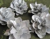Light Silver Paper Flowers - Set of 5
