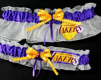 Los Angeles Lakers Handcrafted Basketball Wedding Garter Set, Can Be Personalized