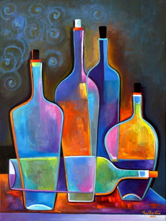 Original abstract painting cubist wine oil on canvas marlina for Abstract artwork for sale