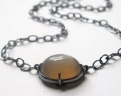 Dark Peach Moonstone Oval Cabochon Minimal Necklace Oxidized Sterling