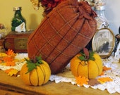 "Autumn Pumpkin of Window Pane Plaid Wool  9"" tall 4"" wide, rust, orange, brown, punkin,"