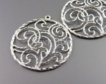 2 unique whimsical interwined swirl pendants, jewelry pendants, matte silver brass, jewelry making supplies 1750-MR (matte silver, 2 pcs)