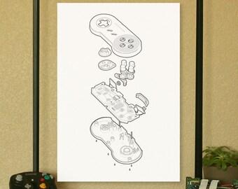 "SNES Super Nintendo Video Game Controller Poster Technical Illustration 13""x19"""