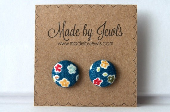 Fabric Covered Button Earrings - He Loves Me - Floral - Buy 3, get 1 free