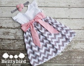 Girls Grey Chevron Dress with Flutter Sleeves and Sash 6-12m 12-18m 24m/2t 4t 5 6