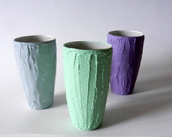Trio of Vases / Instant collection / set of 3 / mint, gray, and purple
