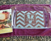 Chevron Personalized 9x13 Pyrex. Initial and Name Overlay. 3 quart Baking Dish + Free Red Lid