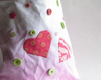 Pink Heart Ombre Girl's Tote - Applique Hearts - Pink and Lime