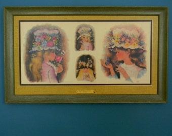 Vintage 1960s Framed Wall Hanging - Girls in Flowered Hats