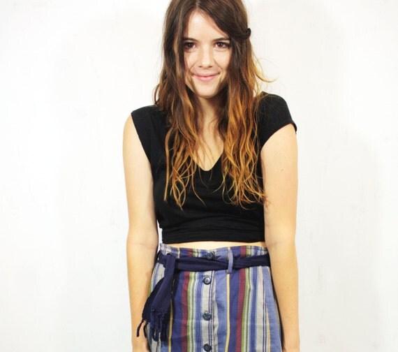 Striped Button-up Mini Skirt L