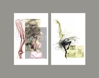 "Ballet Art - set of 2 - 11""x17"" - artwork print - poster -  wall art - compositions ink, marker, pencil - hand drawing"