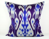 indigo, indigo ikat pillow, blue ikat, blue pillow, 20x20, Uzbek ikat, ikat pillow, Accent Pillows, Throw Pillows, ikat Pillow cover - SilkWay