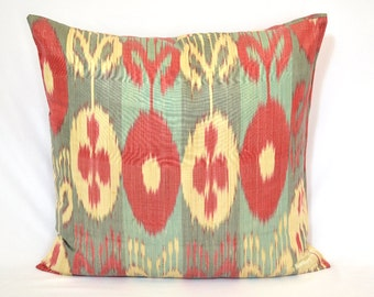 red, torques,light yellow, ikat pillow case, 20x20 inches or 50x50 cm, oriental decoration, ikat fabric, accent pillow, BEST PRICES for ikat