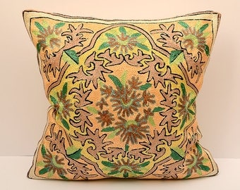 16X16 Sofa decorative pillow, silk handmade embroidered, best quality, rich design
