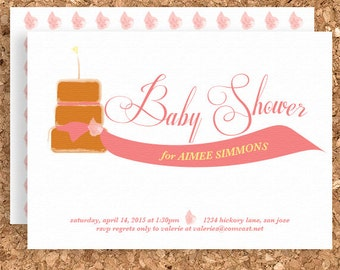 Baby Cake Baby Shower Invitation (DIY Printable Baby Shower, Thank You, Birthday, or Welcome Baby Invitation) - Print Your Own Party