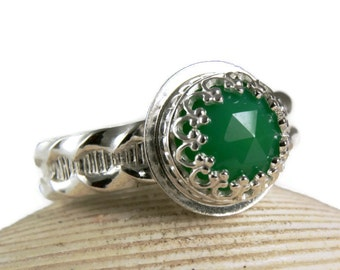 Sterling Silver Chrysoprase Ring, Green Gemstone, Natural Stone, Custom Jewerly, made to order