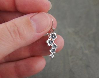 Cascading flower earrings in sterling silver, cherry blossom, silver flower, oxidized, cherry tree, petite earrings
