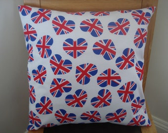 Pillow heart Union jacks red white blue 18 inch decorative cushion cover flag UK British English double sided
