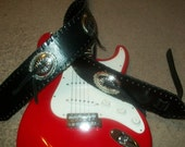 """Clearance SALE 3"""" Wide Black Snake Skin Wide Bass Style Guitar Strap with Huge 3"""" Conchos Ready to ship"""