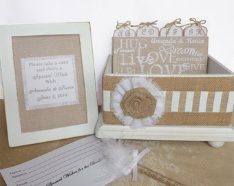 Burlap and White Wedding Guest Book Box Set Live Laugh Love
