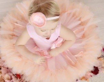 Pink Birthday Tutu Dress. Baby Girls Peach and Pink Tutu Dress Outfit