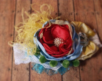 M2M Matilda Jane Wonderful Parade Shabby Flower Headband with lace silk pearls and feathers A148